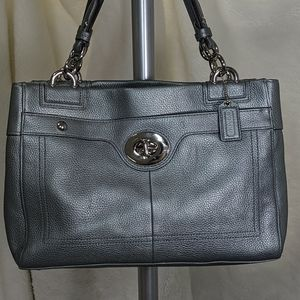 Coach F16531 Penelope silver leather satchel